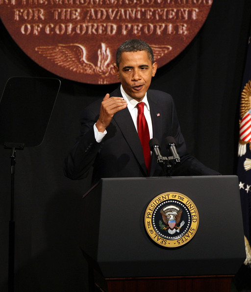 President Barack Obama addresses the NAACP annual convention July 16, 2009 in New York City. Obama discussed the civil rights movement and the importance of carrying on civic responsibility at the 100th anniversary of the nation's oldest civil rights organization.