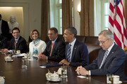 U.S. President Barack Obama (2nd R) meets with congressional leaders including Senate Majority Leader Harry Reid (D-NV) (R) House Speaker John Boehner (R-OH) (C),  House Minority Leader Nancy Pelosi (D-CA) (2nd L), and House Majority Leader Eric Cantor (R-VA) in the Cabinet Room of the White House July 7, 2011 in Washington, D.C. The Obama administration and congressional leaders are attempting to hammer out a deal that would lower the deficit as a House Republican majority stipulation for a vote on increasing the nation's debt ceiling.