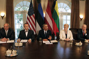 (AFP OUT) US President Barack Obama welcomes President Toomas Hendrik Ilves of Estonia, President Dalia Grybauskaite of Lithuania, and President Andris Berzins of Latvia in the Cabinet Room of the White House August 30, 2013 in Washington, DC. A joint meeting was to be held that will highlight the transformations the Baltic States have undergone since restoring their independence two decades ago. President Obama spoke with the media about the ongoing situation in Syria.