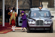 Queen Elizebeth II arrives on Horse Guards Parade for the Ceremonial welcome of South African President Jacob Zuma and his wife Thobeka Madiba Zuma on March 3, 2010 in London, England. President Zuma and his wife are visiting the United Kingdom on a three day state visit and will attend a state banquet hosted by Queen Elizabeth II at Buckingham Palace this evening.