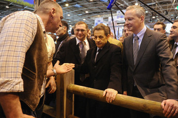 Bruno Le Maire President Sarkozy Canvasses Support At The 'Salon De L'Agriculture 2012' Launch