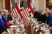 British Prime Minister Theresa May hosts a business round table event with U.S President Donald Trump at St. James's Palace, during the second day of his State Visit on June 4, 2019 in London, England. President Trump's three-day state visit began with lunch with the Queen, followed by a State Banquet at Buckingham Palace, whilst today he will attend business meetings with the Prime Minister and the Duke of York, before travelling to Portsmouth to mark the 75th anniversary of the D-Day landings.