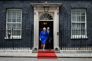 Prime Minister Theresa May and husband Philip May prepare to welcome US President Donald Trump and First Lady Melania Trump to 10 Downing Street, during the second day of their State Visit on June 4, 2019 in London, England. President Trump's three-day state visit began with lunch with the Queen, followed by a State Banquet at Buckingham Palace, whilst today he will attend business meetings with the Prime Minister and the Duke of York, before travelling to Portsmouth to mark the 75th anniversary of the D-Day landings.