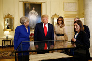 Prime Minister Theresa May, US President Donald Trump and First Lady Melania Trump during a visit to 10 Downing Street, during the second day of his State Visit on June 4, 2019 in London, England. President Trump's three-day state visit began with lunch with the Queen, followed by a State Banquet at Buckingham Palace, whilst today he will attend business meetings with the Prime Minister and the Duke of York, before travelling to Portsmouth to mark the 75th anniversary of the D-Day landings.