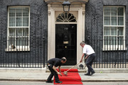 The red carpet at 10 Downing street is brushed prior to US President Donald Trump's meeting with British Prime Minister Theresa May on the second day of the U.S. President and First Lady's three-day State visit on June 4, 2019 in London, England. President Trump's three-day state visit began with lunch with the Queen, followed by a State Banquet at Buckingham Palace, whilst today he will attend business meetings with the Prime Minister and the Duke of York, before travelling to Portsmouth to mark the 75th anniversary of the D-Day landings.