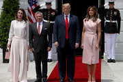 U.S. President Donald Trump and first lady Melania Trump (R) welcome King Abdullah of Jordan and Queen Rania (L) to the White House June 25, 2018 in Washington, DC. Trump and Abdullah are expected to discuss a range of bilateral issues during the King's visit to the White House.