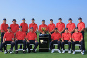 Members of the U.S. Team, (front row, L-R) Zach Johnson, Matt Kuchar, Phil Mickelson, Tiger Woods, Steve Stricker, Hunter Mahan, (back row L-R) Jay Haas, Jason Dufner, Bill Haas, Webb Simpson, Fred Couples, Jordan Spieth, Keegan Bradley, Jay Haas, Keegan Bradley, Brandt Snedeker and Davis Love III pose for a photocall on the practice ground prior to the start of The Presidents Cup at the Muirfield Village Golf Club on October 2, 2013 in Dublin, Ohio.