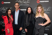 Janel Parrish, Tom Ascheim, I. Marlene King and Sasha Pieterse arrive at the 'Pretty Little Liars: The Perfectionists' premiere at Hollywood Athletic Club on March 15, 2019 in Hollywood, California.
