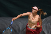 Maria Sharapova serves during a practice session ahead of The Championships - Wimbledon 2019 at All England Lawn Tennis and Croquet Club on June 30, 2019 in London, England.