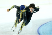Speed skaters Keiichiro Nagashima (L) and Shane Williamson (R) of Japan skate during a training session ahead of the Sochi 2014 Winter Olympics at Adler Arena Skating Center on February 3, 2014 in Sochi, Russia.