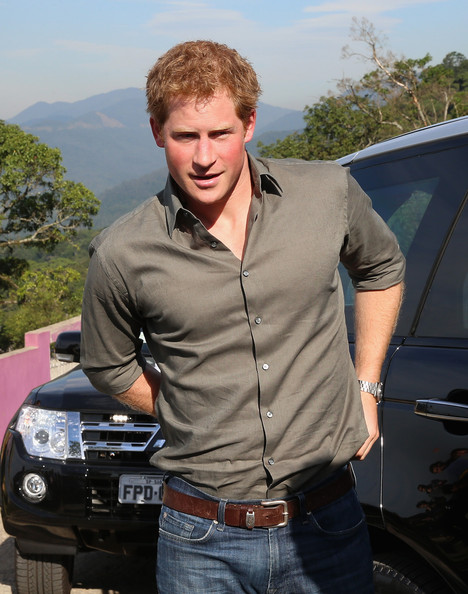 Prince Harry arrives to plant a tree as he visits Cota 200, a small village in the Brazilian Atlantic Rainforest on June 25, 2014 in Cota Dos Ventos, Brazil.  Prince Harry is on a four day tour of Brazil that will be followed by Two days in Chile.