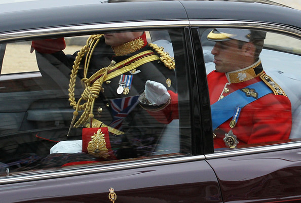 Prince Harry Prince Harry L and Prince William salute as they make their