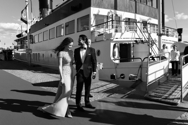 Prince Carl Philip of Sweden and Sofia Hellqvist Dine in Stockholm [image,water transportation,vehicle,transport,mode of transport,ferry,deck,boat,motor ship,black-and-white,photography,boat,carl philip of sweden,sofia hellqvist,sofia hellqvist dine,stockholm,sweden,ss stockholm,wedding,dinner]