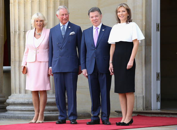 Camilla, Duchess of Cornwall poses with Prince Charles, Prince of Wales the First Lady of Colombia María Clemencia Rodríguez Múnera and the President of Colombia Juan Manuel Santos at the Presidential Palace for an Official Welcome on October 29, 2014 in Bogota, Colombia. The Royal Couple are on a four day visit to Colombia as part of a Royal tour to Colombia and Mexico. After fifty years of armed conflict in Colombia the theme for the visit is Peace and Reconciliation.