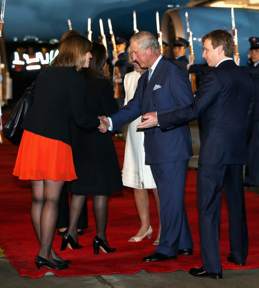 Prince Charles, Prince of Wales and Camilla, Duchess of Cornwall arrive into Bogota Military Airport on October 28, 2014 in Bogota, Colombia. The Royal Couple are on a four day visit to Colombia as part of a Royal tour to Colombia and Mexico. After fifty years of armed conflict in Colombia the theme for the visit is Peace and Reconciliation.