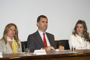 """(L to R) Spanish Foreign Minister Trinidad Jimenez, Prince Felipe of Spain and Princess Letizia of Spain attend the """"Embajadores Honorarios de la Marca Espana"""" acreditation ceremony at the Mapfre center on May 3, 2011 in Madrid, Spain."""