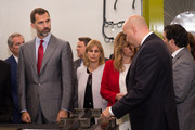 Prince Felipe of Spain with Carbures Europe GM Javier Moreno during quality controls at Carbures Europe, a manufacturer specialized in carbon structures technologies for airplanes, on October 28, 2013 in Jerez de la Frontera, Spain.