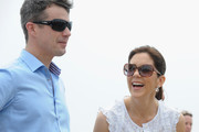 Princess Mary of Denmark and Prince Frederik of Denmark smile during a visit to Sculpture by the Sea on November 20, 2011 in Sydney, Australia. Princess Mary and Prince Frederik are on their first official visit to Australia since 2008. The Royal visit begins in Sydney, before heading to Melbourne, Canberra and Broken Hill.
