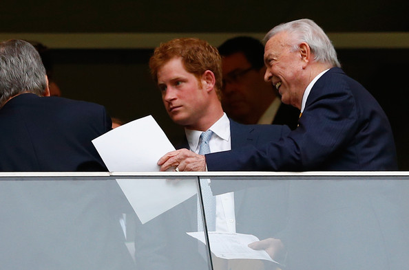 Prince Harry Prince Harry and CBF President Jose Maria Marin look on during the 2014 FIFA World Cup Brazil Group A match between Cameroon and Brazil at Estadio Nacional on June 23, 2014 in Brasilia, Brazil.