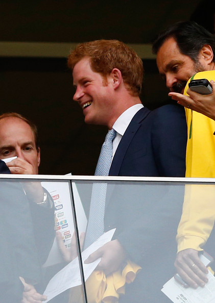 Prince Harry Prince Harry looks on during the 2014 FIFA World Cup Brazil Group A match between Cameroon and Brazil at Estadio Nacional on June 23, 2014 in Brasilia, Brazil.