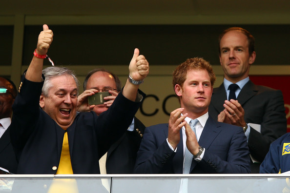 Prince Harry Prince Harry (R) looks on during the 2014 FIFA World Cup Brazil Group A match between Cameroon and Brazil at Estadio Nacional on June 23, 2014 in Brasilia, Brazil.