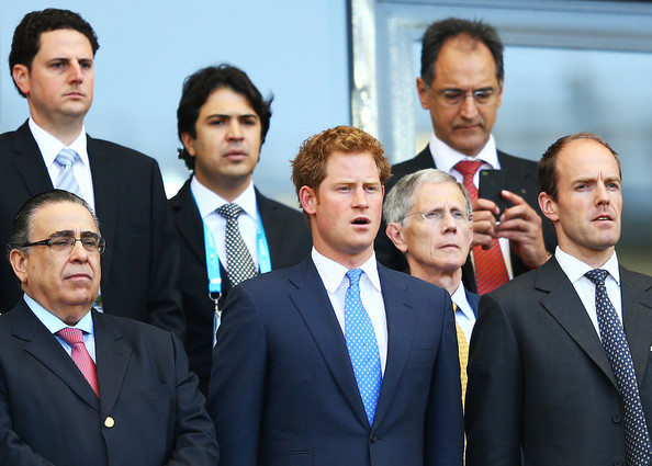 Prince Harry Prince Harry (C) looks on during the 2014 FIFA World Cup Brazil Group D match between Costa Rica and England at Estadio Mineirao on June 24, 2014 in Belo Horizonte, Brazil.