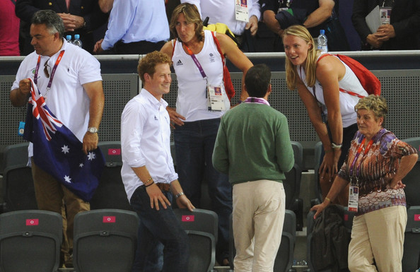 Prince Harry Prince Harry chats to Rowers Katherine Grainger and Anna Watkins of Great Britain at the Track Cycling on Day 11 of the London 2012 Olympic Games at the Velodrome on August 7, 2012 in London, England.