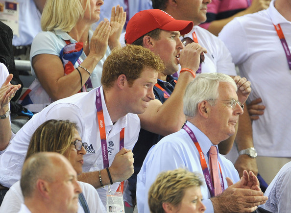 Prince Harry Prince Harry, Peter Phillips, LOCOG Chair Lord Sebastian Coe and former Prime Minister John Major (front) enjoy the atmosphere as they watch the Track Cycling on Day 11 of the London 2012 Olympic Games at the Velodrome on August 7, 2012 in London, England.
