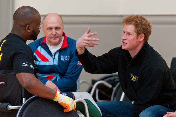 Prince Harry Prince Harry (R) meets veterans at the launch of the Invictus Games selection process at Tedworth House on April 29, 2014 in Tidworth, Wiltshire, England.