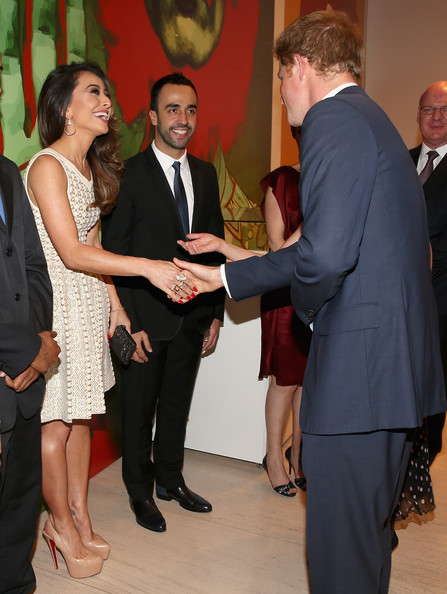 Prince Harry meets Sabrina Sato at a GREAT Britain reception on June 25, 2014 in Sao Paulo Brazil.  Prince Harry is on a four day tour of Brazil that will be followed by Two days in Chile.