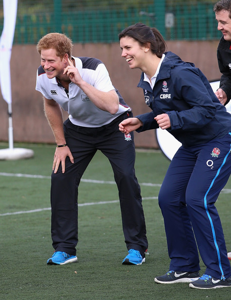 Prince Harry, Patron of England Rugby's All Schools Programme, takes part in a rugby training session England women's rugby player Sarah Hunter at Eccles RFC on October 20, 2014 in Manchester, England.