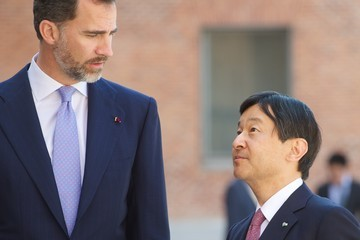 Prince Naruhito Of Japan Prince Felipe and Crown Prince Naruhito Visit an Exhibit