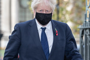 British Prime Minister Boris Johnson arrives at Westminster Abbey  to attend a service to mark Armistice Day and the centenary of the burial of the unknown warrior on November 11, 2020 in London, England.