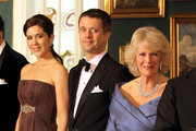 (L-R) Crown Princess Mary of Denmark, Crown Prince Frederik of Denmark and Camilla, Duchess of Cornwall take part in a receiving line ahead of an official dinner at the Royal Palace on March 26, 2012 in Copenhagen, Denmark. Prince Charles, Prince of Wales and Camilla, Duchess of Cornwall are on a Diamond Jubilee tour of Scandinavia that takes in Norway, Sweden and Denmark.