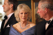 (L-R) Crown Prince Frederik of Denmark, Camilla, Duchess of Cornwall and Prince Charles, Prince of Wales take part in a receiving line ahead of an official dinner at the Royal Palace on March 26, 2012 in Copenhagen, Denmark. Prince Charles, Prince of Wales and Camilla, Duchess of Cornwall are on a Diamond Jubilee tour of Scandinavia that takes in Norway, Sweden and Denmark.