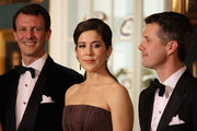 (L-R) Prince Joachim of Denmark, Crown Princess Mary of Denmark and Crown Prince Frederik of Denmark take part in a receiving line ahead of an official dinner at the Royal Palace on March 26, 2012 in Copenhagen, Denmark. Prince Charles, Prince of Wales and Camilla, Duchess of Cornwall are on a Diamond Jubilee tour of Scandinavia that takes in Norway, Sweden and Denmark.