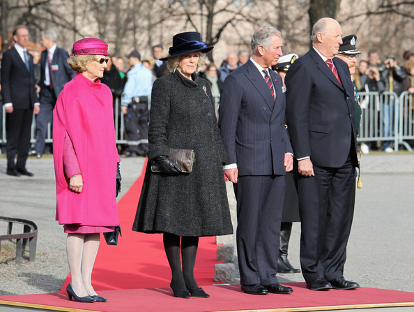 (L-R)  Queen Sonja of Norway. Camilla, Duchess of Cornwall, Prince Charles, Prince of Wales and King Harald of Norway attend a wreath laying ceremony at the National Monument at Akershus Fortress on March 20, 2012 in Oslo, Norway.  Prince Charles, Prince of Wales and Camilla, Duchess of Cornwall are on a Diamond Jubilee tour of Scandinavia that takes in Norway, Sweden and Denmark.
