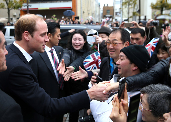 Prince William Prince William, Duke of Cambridge meets crowds of public as he leaves Ishinomaki local newspaper office on March 1, 2015 in Ishinomaki, Japan. The Duke of Cambridge is on his final day in Japan and will begin an Official visit to China tommorow.