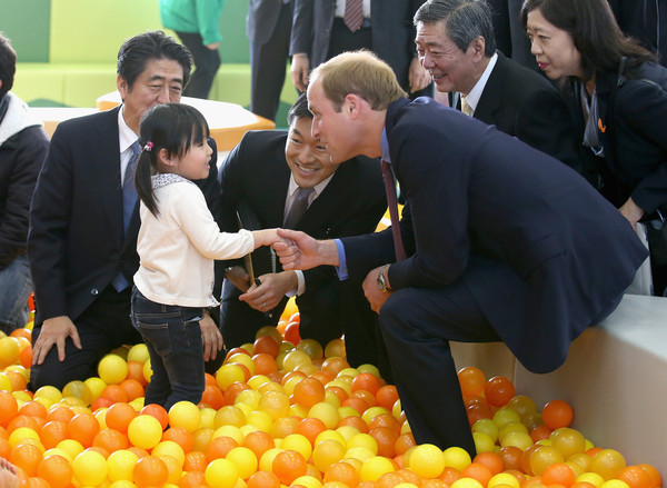 Prince William Prince William, Duke of Cambridge and Japanese Prime Minister Shinzo Abe play with children as they visit Smile Kid's Park on February 28, 2015 in Koriyama, Japan. The Duke of Cambridge is visiting Japan from February 26th to March 1st 2015.