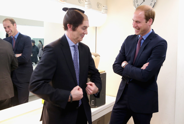 Prince William Prince William, Duke of Cambridge laughs as British Ambassador to Japan Tim Hitchens wears a Samurai during a visit to the set of a historical drama at NHK Public Broadcasting Studios during the third day of his visit to Japan on February 28, 2015 in Tokyo, Japan. The Duke of Cambridge is visiting Japan from February 26th to March 1st 2015.