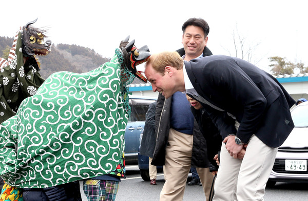 Prince William Prince William, Duke of Cambridge is greeted by Lion Dancers performing in an Shishimai Ceremony at Chime of Hope Shopping Centre on March 1, 2015 in Ishinomaki, Japan. The Duke of Cambridge is on his final day in Japan and will begin an Official visit to China tommorow.