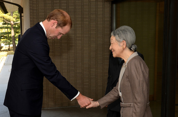 Prince William Prince William, Duke of Cambridge bows as he shakes hands with Empress Michiko, after he arrived for lunch at the couple's residence within the Royal Palace grounds on February 27, 2015 in Tokyo, Japan. The Duke of Cambridge is visiting Japan from February 26th to March 1st 2015.