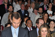 Prince Felipe of Spain (L) and Princess Letizia of Spain (R) attend a minute of silence during the launch of the '7th International Congress For The Victims of Terrorism' at Ecole Militaire on September 15, 2011 in Paris, France.