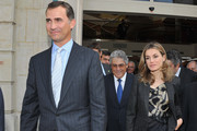 Prince Felipe of Spain (L) and Princess Letizia of Spain (R) leave the 7th International congress for the Victims of terrorism at Ecole Militaire on September 15, 2011 in Paris, France.