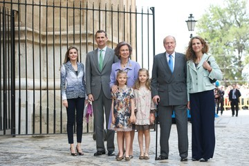 Princess Elena Queen Letizia of Spain Spanish Royals Attend Easter Mass in Palma de Mallorca