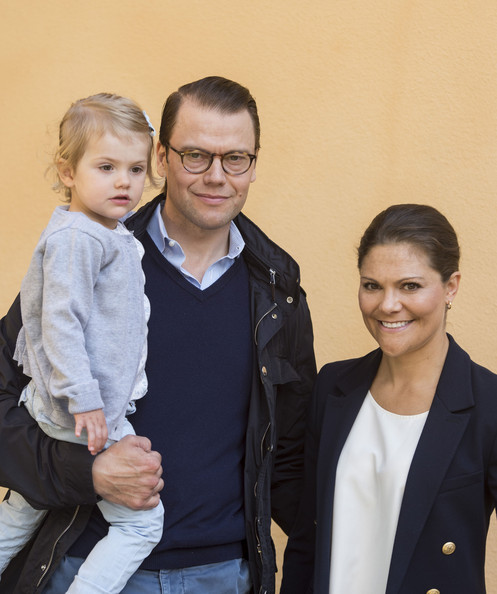 Crown Princess Victoria of Sweden and Prince Daniel, Duke of Vastergotland attend a photocall on Princess Estelle's first day at pre-school on August 25, 2014 in Stockholm, Sweden.