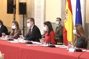 In handout image provided by the Spanish Royal Household,  Princess Leonor of Spain, King Felipe of Spain, Queen Letizia of Spain and Princess Sofia attend a meeting with the Princess of Girona Foundation (FPdGI)  at the Royal Palace of El Pardo on December 11, 2020 in Madrid, Spain.