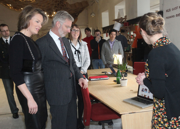 """Prince Philippe And Princess Mathilde of Belgium Visit """"HUB Brussels"""" [event,fashion,room,employment,mathilde of belgium,philippe of belgium,prince,princess,starters,hub brussels,disposal,belgium,brussels,visit]"""