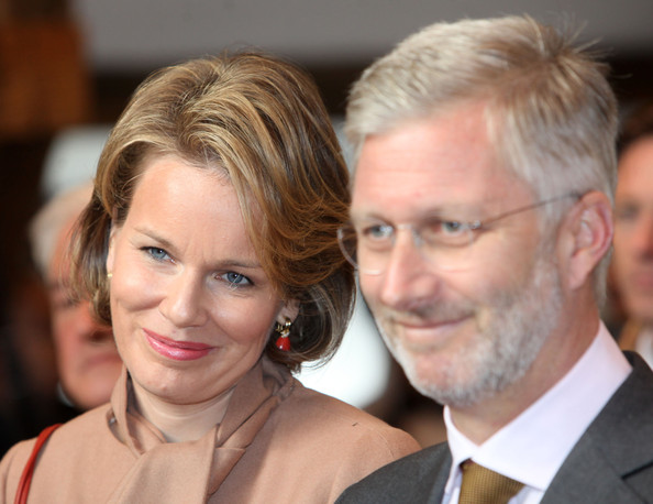 Prince Philippe And Princess Mathilde Of Belgium Visit Luxembourg [hair,face,blond,hairstyle,eyebrow,chin,nose,forehead,event,neck,mathilde of belgium,philippe of belgium,prince,princess,townhall,luxembourg,neufchateau,belgium,visit]