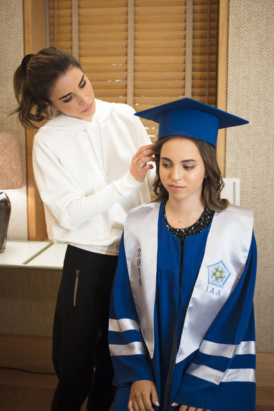 Jordan Royal Family Attend Princess Salma's Graduation [graduation,academic dress,mortarboard,scholar,event,public event,uniform,student,phd,diploma,salma,jordan royal family,rania of jordan,handout image,amman,jordan,royal hashemite court,l,international academy,graduation]